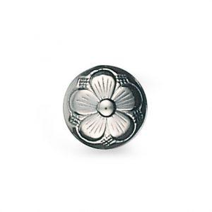 Mestergull Bunadsknapp med bunn og lang hempe med den tradisjonelle 5-blads rosen i oksidert sølv. Mye brukt til bunadene rundt om i landet og finnes i flere størrelser. NORSK BUNADSØLV Knapp