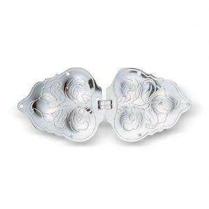 Mestergull Beltespenne i hvitt sølv til Agder NORSK BUNADSØLV Spenne