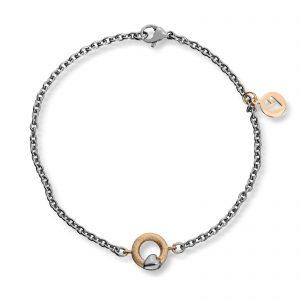 Mestergull Tynt stålarmbånd med gult gull sirkel og hvitt gull hjerte. Diameter på sirkel 0,9 cm. VAN BERGEN Silver Heart Armbånd