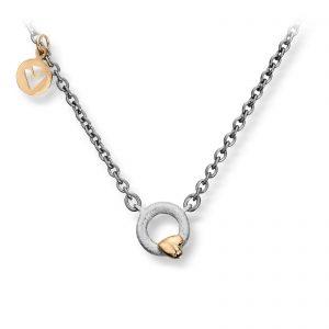 Mestergull Lite sirkel anheng i sølv med gult gull hjerte og stål kjede. Diameter på anheng 0,9 cm VAN BERGEN Silver Heart Anheng