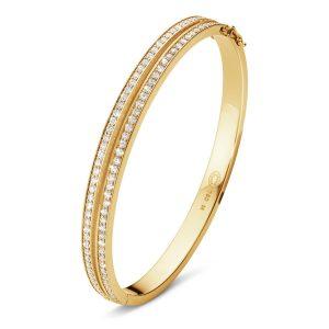Mestergull HALO armring i 18 kt. gult gull med brilliantslipte diamanter GEORG JENSEN Halo Armring