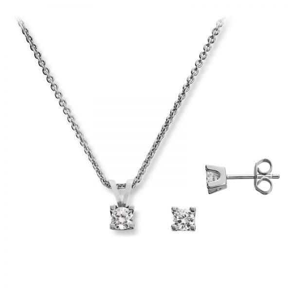 Mestergull Stilrent sett i sølv, ørepynt og anheng med cubic zirkonia GID Sett