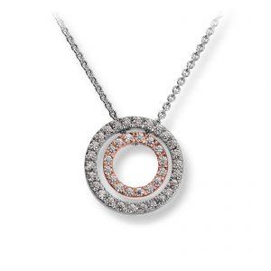 Mestergull Lekkert rundt anheng i rhodinert og roseforgylt sølv med cubic zirkonia GID Anheng