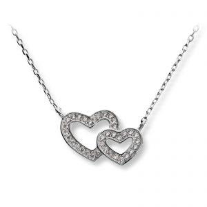 Mestergull Søtt hjerteanheng i rhodinert sølv med cubic zirkonia GID Anheng