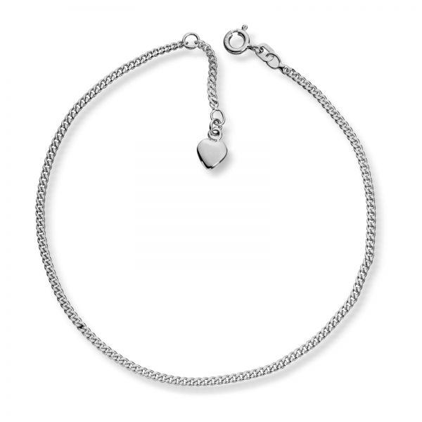 Mestergull Enkelt ankellenke i sølv med hjerter MESTERGULL Ankellenke