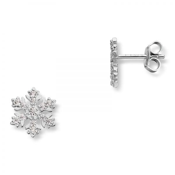 Mestergull Floral ørepynt i rhodinert sølv med cubic zirkonia MESTERGULL Ørepynt