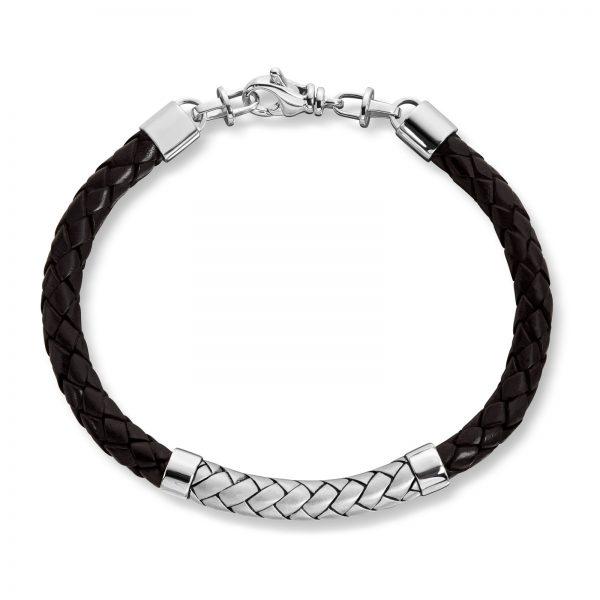 Mestergull Tøft armbånd til herre i rhodinert sølv og sort skinn MESTERGULL Armbånd