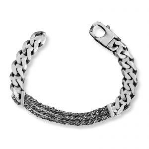 Mestergull Tøft armbånd til herre i oksidert sølv MESTERGULL Armbånd