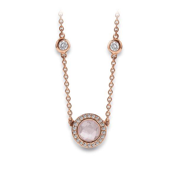 Mestergull Delikat kjede i rosèforgylt sølv med rosa kvarts og cubic zirkonia VIVENTY Kjede