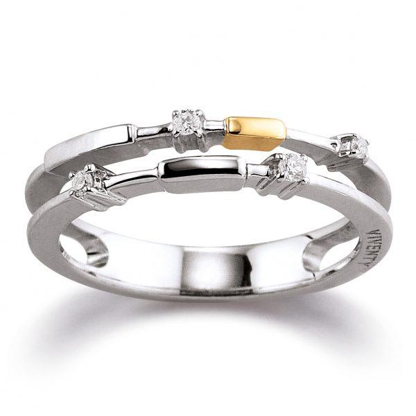 Mestergull Tøff ring i rhodinert sølv med forgylte detaljer og med diamanter VIVENTY Ring