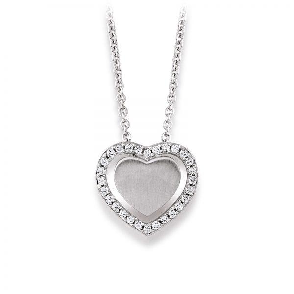 Mestergull Enkelt hjerteanheng i rhodinert sølv med cubic zirkonia VIVENTY Anheng