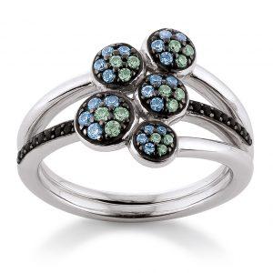 Mestergull Flott ring i rhodinert sølv med grønne og sorte cubic zirkonia VIVENTY Ring