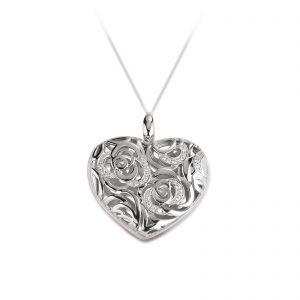 Mestergull Klassik floral medaljong i rhodinert sølv med cubic zirkonia VIVENTY Anheng