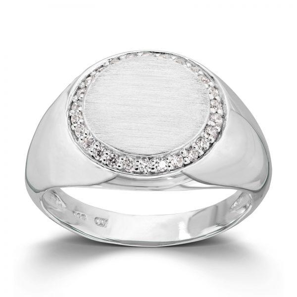 Mestergull Trendy signet ring i rhodinert sølv med cubic zirkonia GID Ring