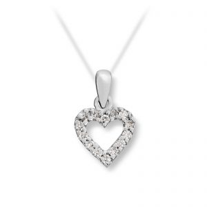 Mestergull Stilrent hjerteanheng i hvitt gull med diamanter MG DIAMONDS Anheng