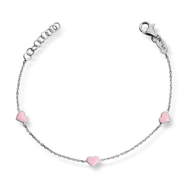 Mestergull Søtt armbånd i rhodinert sølv med rosa emalje MG BASIC Armbånd