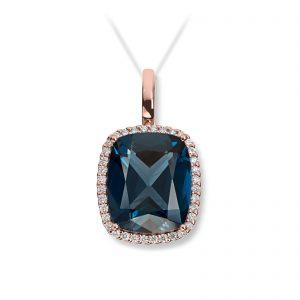 Mestergull Lekker anheng i rosègull med London blue topas og diamanter MG DIAMONDS Anheng
