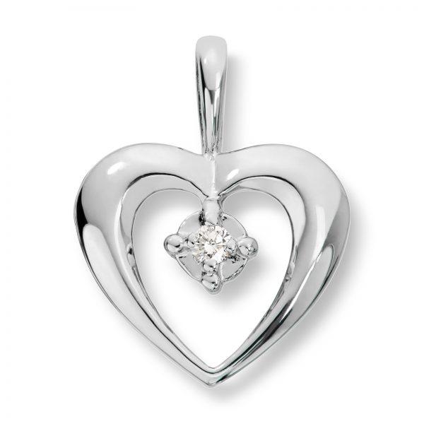 Mestergull Flott hjerteanheng i hvitt gull med diamanter MG BASIC Anheng