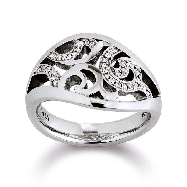 Mestergull Floral ring i rhodinert sølv med cubic zirkonia VIVENTY Ring