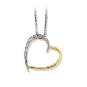 Mestergull Vakkert hjerteanheng i forgylt sølv med cubic zirkonia VIVENTY Anheng