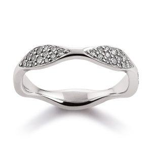 Mestergull Elegant ring i rodinert sølv med cubic zirkonia - fin å kombinere med ring i rosèforgylt VIVENTY Ring