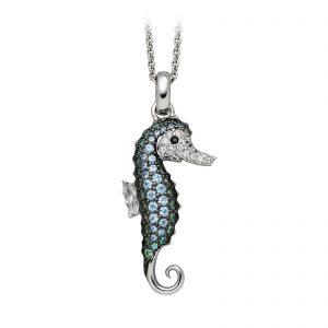 Mestergull Trendy anheng, sjøhest, i rhodinert sølv med hvite og blå cubic zirkonia VIVENTY Anheng