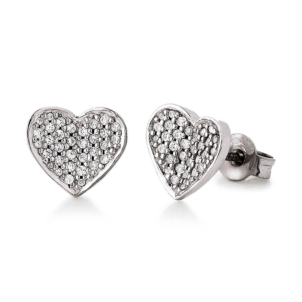 Mestergull Lekker hjerteørepynt i rhodinert sølv med cubic zirkonia VIVENTY Ørepynt