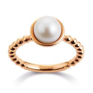 Mestergull Elegant ring i rosèforgylt sølv med ferskvannsperle VIVENTY Ring