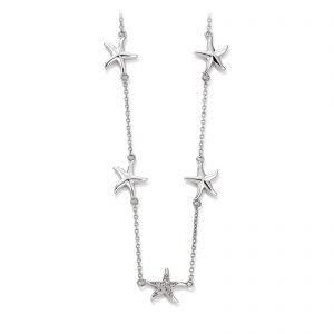 Mestergull Flott kjede med stjerne i rhodinert sølv med cubic zirkonia VIVENTY Kjede