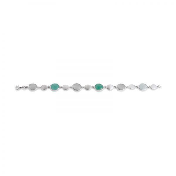 Mestergull Flott armbånd i rhodinert sølv med grønn amasonitt og grå månesten VIVENTY Armbånd