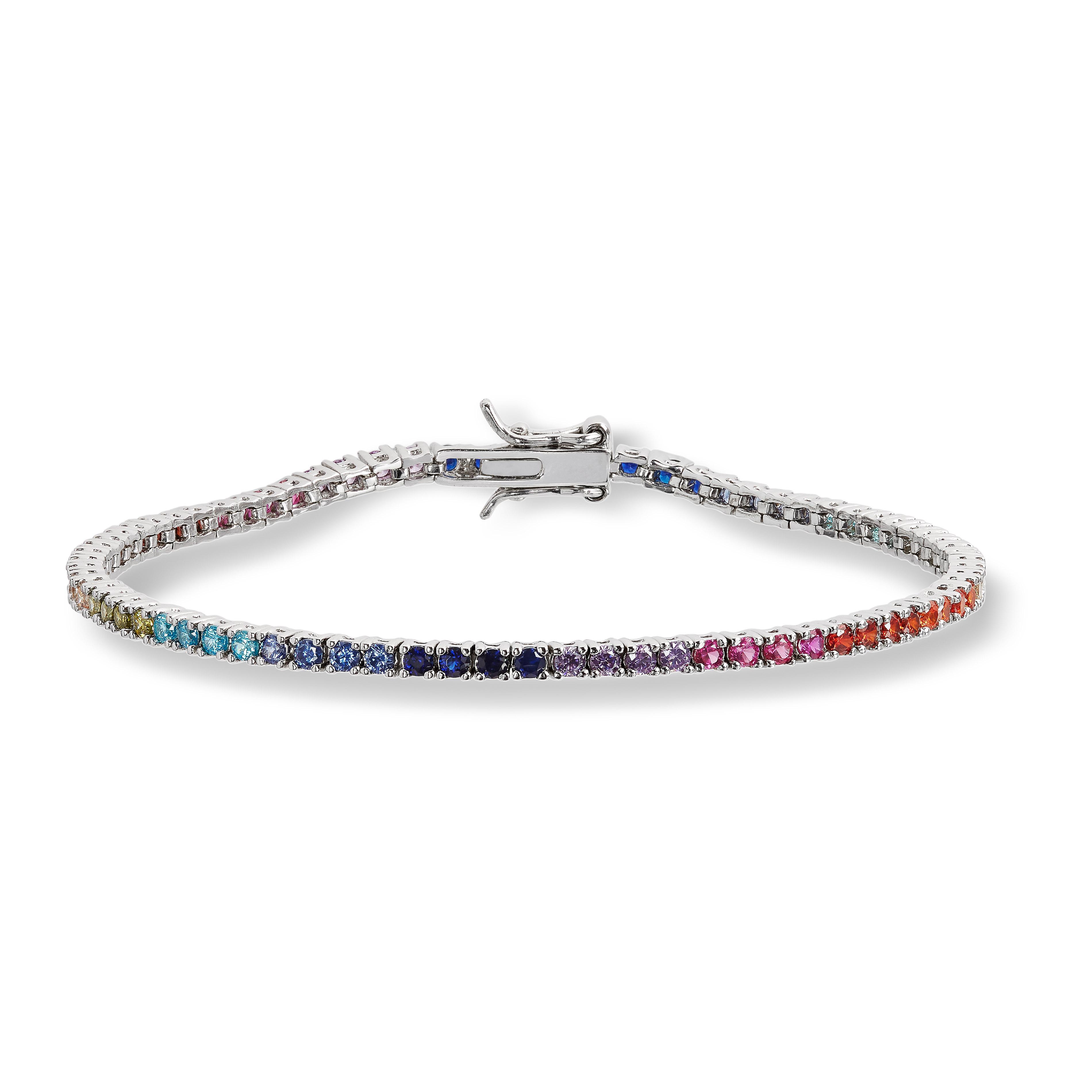 Mestergull Trendy armbånd i rhodinert sølv med cubic zirkonia i regnbuens farger GID Armbånd