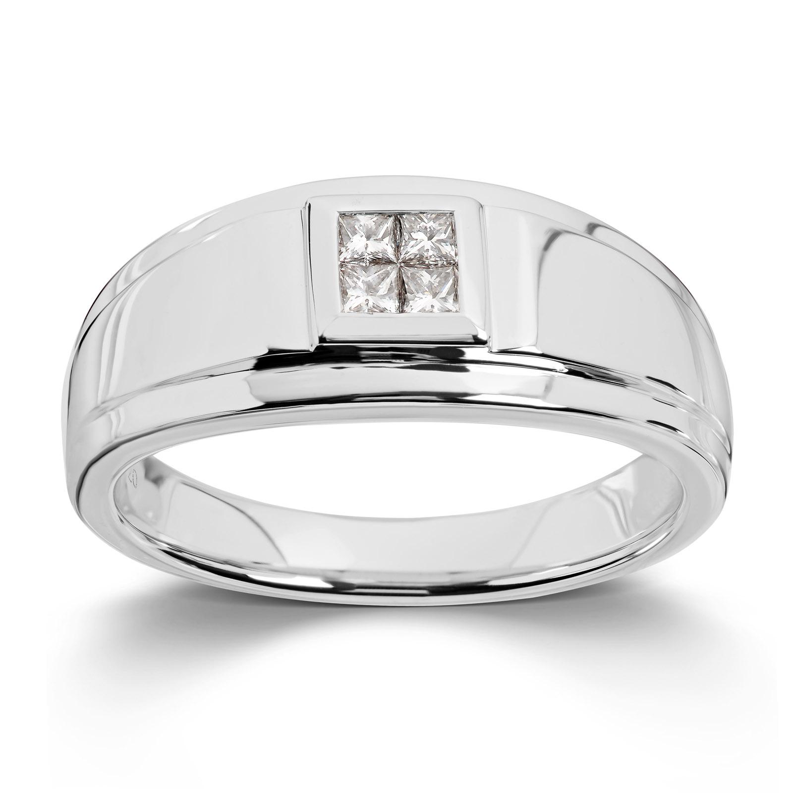 Mestergull Flott herrering i hvitt gull med diamanter MG DIAMONDS Ring