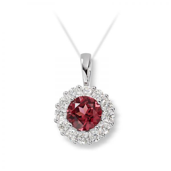 Mestergull Klassisk anheng i hvitt gull med diamanter og rhodolitt MG DIAMONDS Anheng
