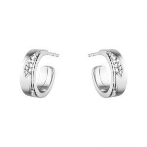 Mestergull Fusion små øreringer i 18kt. hvitt gull med diamanter GEORG JENSEN Fusion Ørepynt