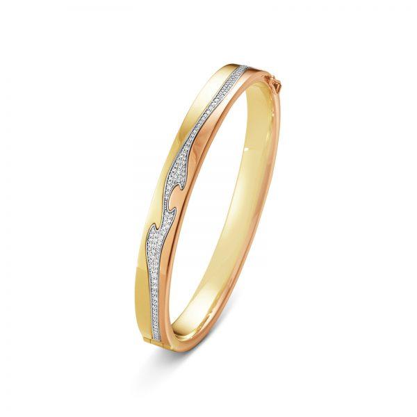 Mestergull Fusion armring i gult gull, rosegull og hvitt gull med diamanter GEORG JENSEN Fusion Armring