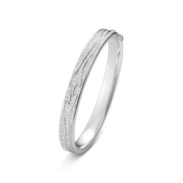 Mestergull Fusion armring i hvitt gull med diamanter GEORG JENSEN Fusion Armring