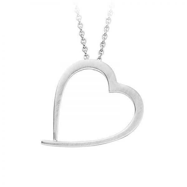 Mestergull Flott hjerteanheng i rhodinert sølv VIVENTY Anheng