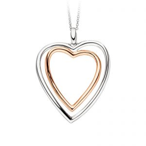 Mestergull Lekkert hjerteanheng i rhodinert og rosèforgylt sølv VIVENTY Anheng
