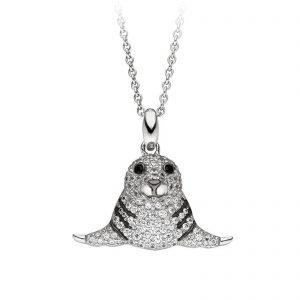 Mestergull Tøft anheng i rhodinert sølv med hvite og sorte cubic zirkonia VIVENTY Anheng