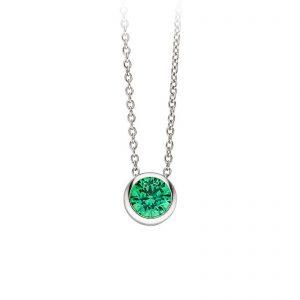 Mestergull Elegant kjede i rhodinert sølv med grønn cubic zirkonia VIVENTY Kjede