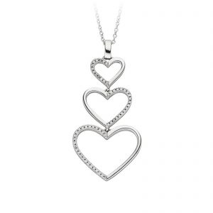Mestergull Lekkert hjerteanheng i rhodinert sølv med cubic zirkonia VIVENTY Anheng