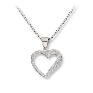 Mestergull Delikat hjerteanheng i rhodinert sølv med cubic zirkonia GID Anheng