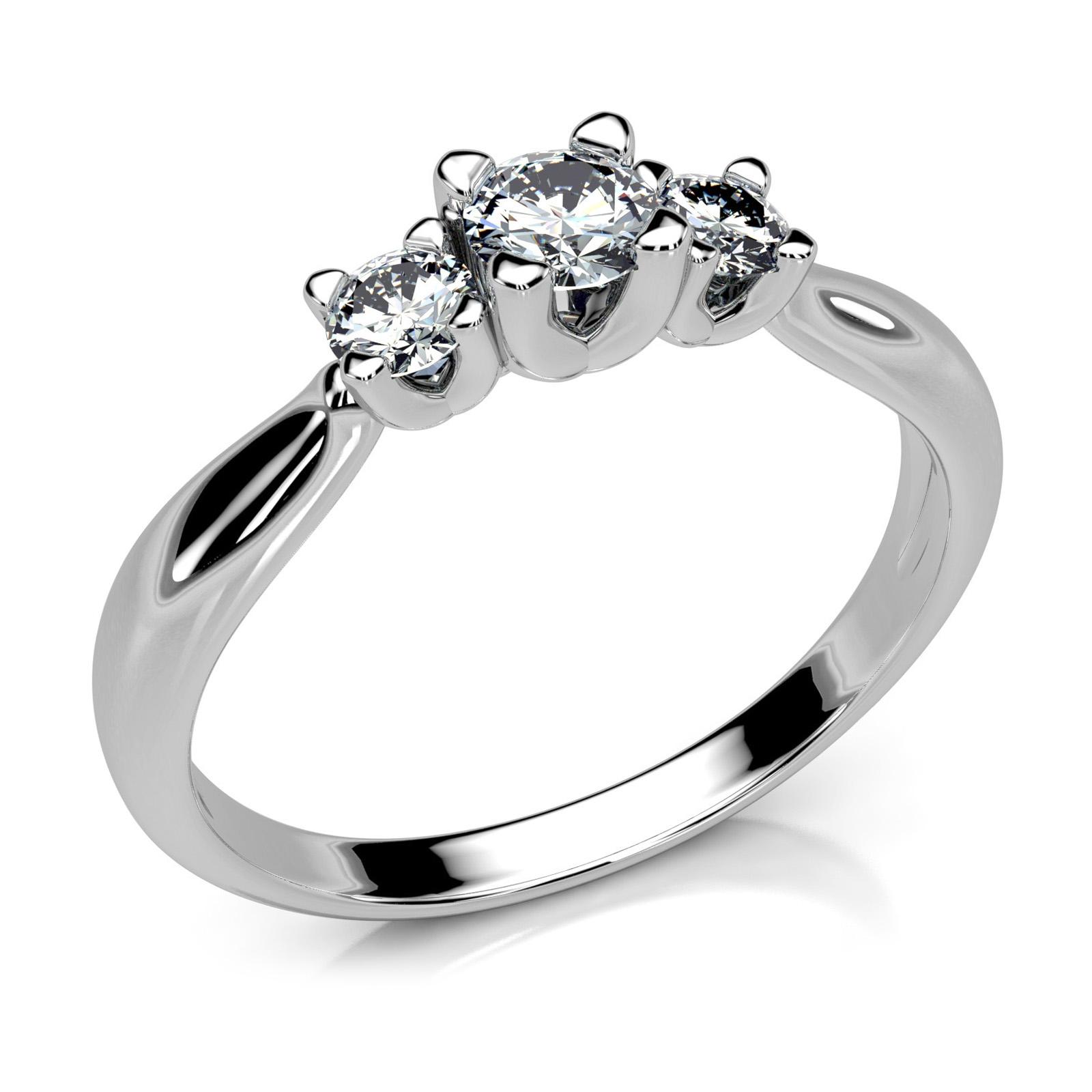 Mestergull En elegant og unik trestens ring i hvitt gull med diamanter MG DIAMONDS Ring