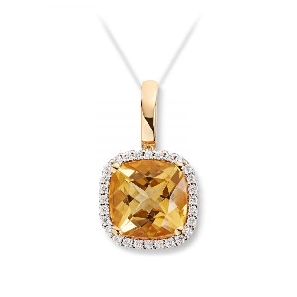 Mestergull Elegant anheng i gult gull med citrin og diamanter MG DIAMONDS Anheng