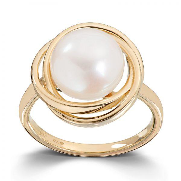 Mestergull Flott ring i gult gull med ferskvannsperle MESTERGULL Ring