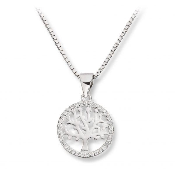 Mestergull Livets tre anheng i rhodinert sølv med cubic zirkonia GID Anheng