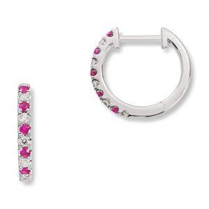 Mestergull Trendy øreringer i hvitt gull med rubiner og diamanter MG DIAMONDS Ørepynt
