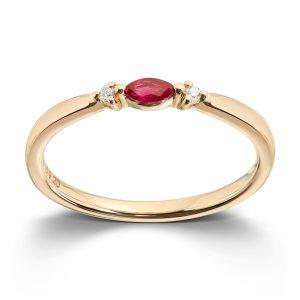 Mestergull Vakker ring i gult gull med rubin og diamanter MG DIAMONDS Ring