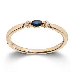 Mestergull Trendy ring i gult gull med safir og diamanter MG DIAMONDS Ring