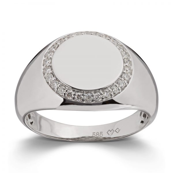 Mestergull Trendy signet ring i hvitt gull med diamanter MG DIAMONDS Ring